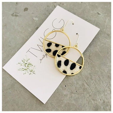 Twigg Gold Framed Cow Earrings | Koop.co.nz
