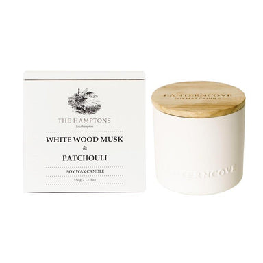 Lantern Cove Hamptons Candle – White Wood, Musk & Patchouli | Koop.co.nz