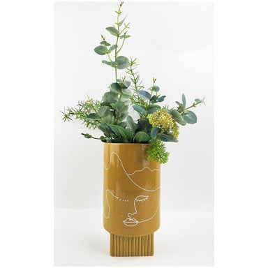 Urban Products Nova Face Vase - Mustard (22cm) | Koop.co.nz