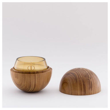 Only Orb Smoke Glass Candle & Teak Holder – Oh | Koop.co.nz