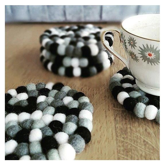 Sheepish Design NZ Wool Coasters – Monochrome | Koop.co.nz