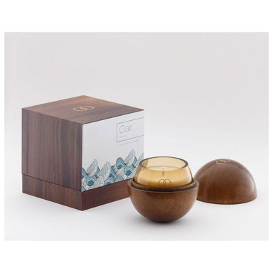 Only Orb Smoke Glass Candle & Teak Holder – Oar | Koop.co.nz
