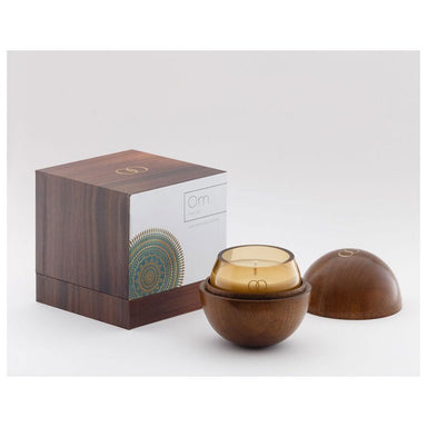 Only Orb Smoke Glass Candle & Teak Holder – Om | Koop.co.nz