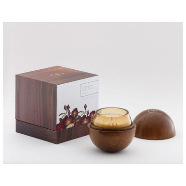 Only Orb Smoke Glass Candle & Teak Holder – Otto | Koop.co.nz