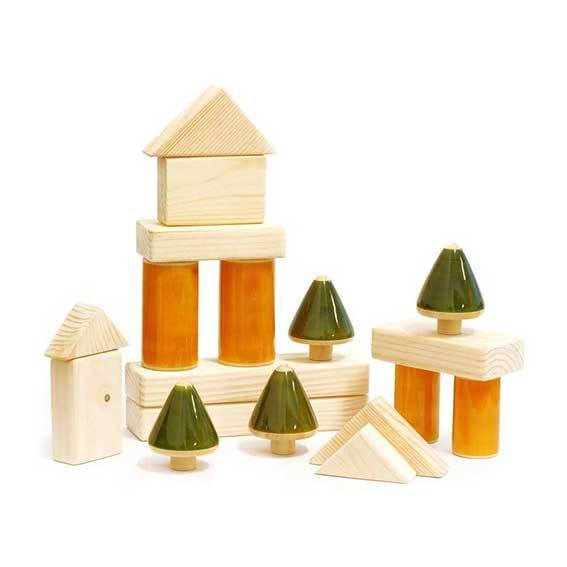 Maya Organic Fair Trade Wooden Building Blocks (18pc) | Koop.co.nz