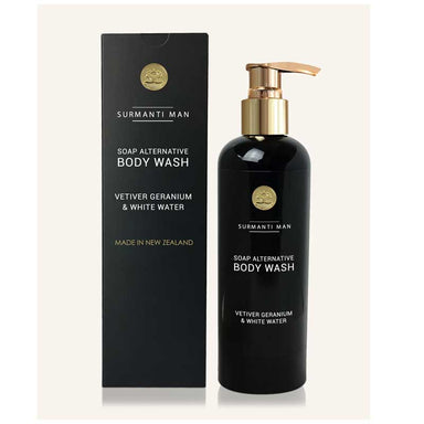 Surmanti Man Body Wash Soap Alternative - Vetiver Geranium & White Water (300ml) | Koop.co.nz