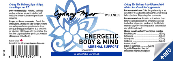 Energetic Body & Mind, Adrenal Support Vitamins 90 gluten free veggie caps~ avoid burnout, boost your energy, have mental acuity, deep healing sleep & lower cortisol.