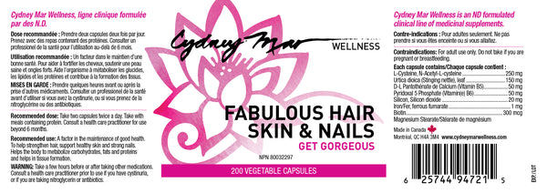 Fabulous Hair Skin & Nails Vitamins 200 Gluten Free veggie caps, made in Canada for improving hair after thinning or loss, strengthening nails and beautifying skin.