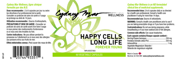 Happy Cells Forever Young Vitamins , 60 gluten free veggie caps made in Canada that support the body on a cellular level and boosting the immune system.