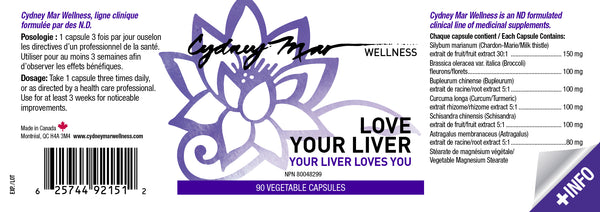 Love Your Liver Vitamins 90 gluten-free veggie caps made in Canada is an incredible formulation to detox the liver allowing it to regulate the hormones, digestive system & regenerates liver tissue.
