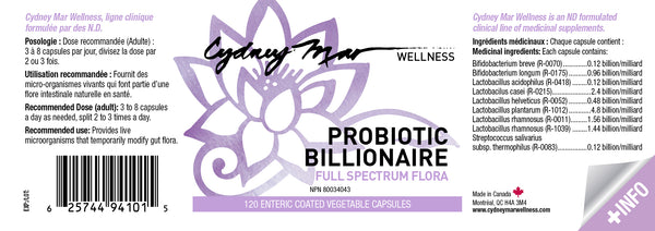 Probiotic Billionaire, full spectrum flora for excellent digestion. Enteric coated 120 veggie caps made in Canada delivers the goodness where it does its magic.