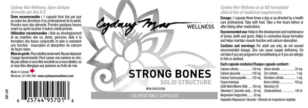 Strong Bones, Solid Structure Vitamins 120 Gluten Free Veggie Caps made in Canada~ a strong foundation is essential for the body's alignment. Builds & remodels the bone tissue & calms nerves.