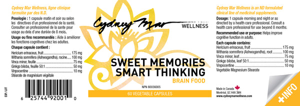 Sweet Memories, Smart Thinking Vitamins 60 gluten free veggie caps made in Canada ~ Such an excellent formulation for keeping your sweet memories and smarts when you need them.