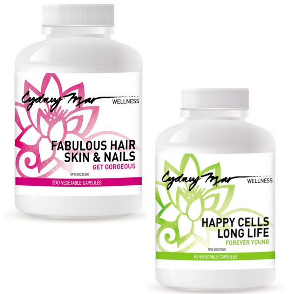 Fabulous Hair Skin & Nails Vitamins 200 veggie caps, made in Canada for improving hair after thinning or loss, strengthening nails and beautifying skin PLUS Happy Cells Forever Young Vitamins 60 veggie caps that support the body on a cellular level.