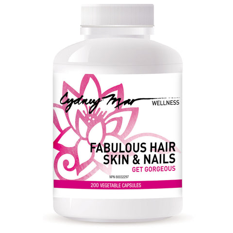 Fabulous Hair Skin & Nails Vitamins 200 veggie caps, made in Canada for improving hair after thinning or loss, strengthening nails and beautifying skin