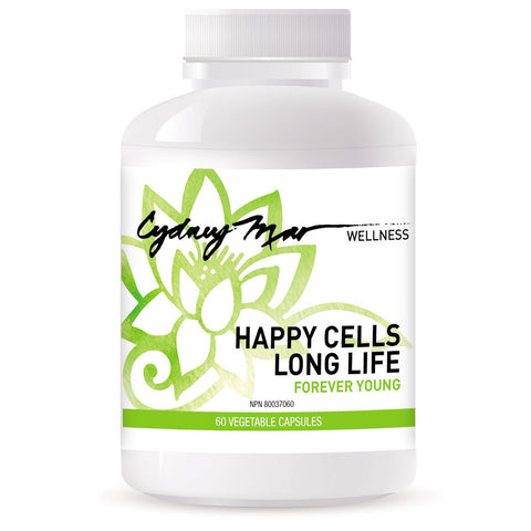 Happy Cells, Long Life is our youth elixir that promises your best approach to forever young. 60 veggie caps proudly made in Canada. Rebuilding & repairing the cells from the inside out.