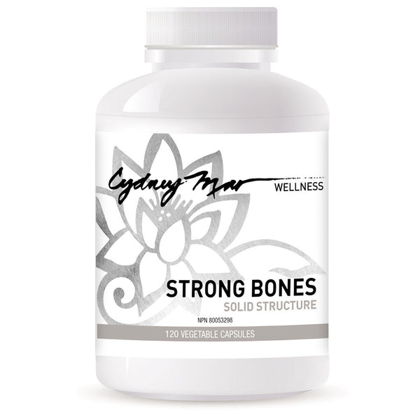 Strong Bones, Solid Structure Vitamins 120 Gluten Free Veggie Caps made in Canada ~ a strong foundation is essential for the body's alignment. Builds & remodels the bone tissue & calms nerves.