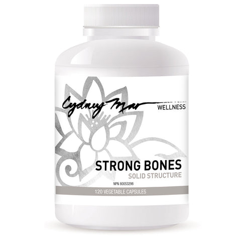 Strong Bones, Solid Structure Vitamins 120 Veggie Caps made in Canada ~ a strong foundation is essential for the body's alignment. Builds & remodels the bone tissue & calms nerves.