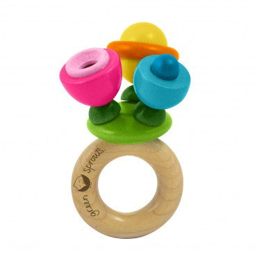 Green Sprouts Flower Rattle Toy Wooden