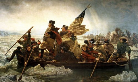 George Washington in his Tricorn Hat crossing teh Delaware River