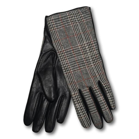 Houndstooth Plaid Leather Gloves