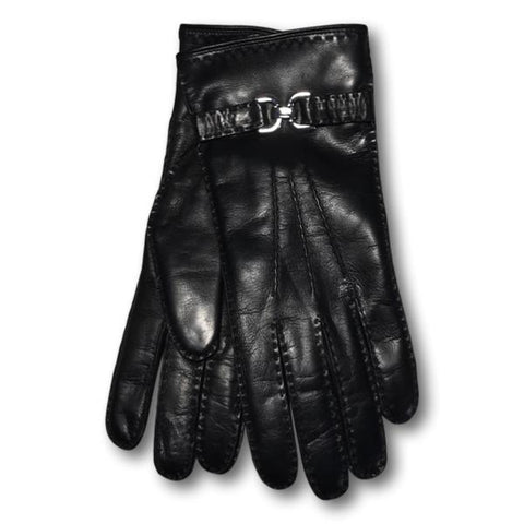 Women's Buckle Leather Gloves