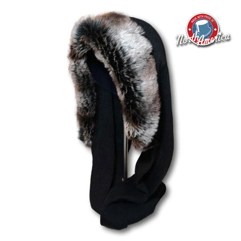 Faux Fur Trim Hood Scarf