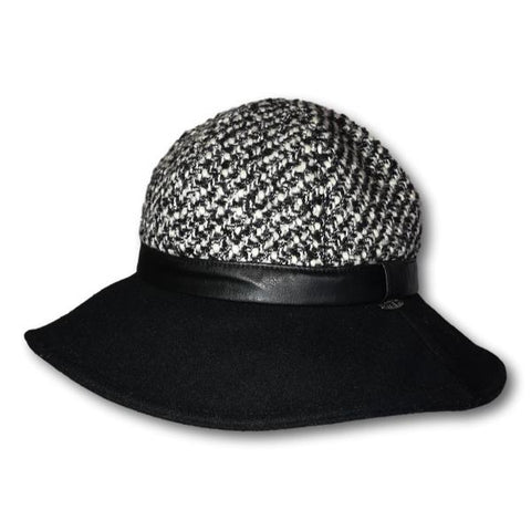 Two Tone Bouclé Crown Wide Brim