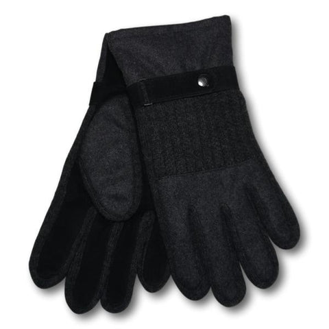 Cable Knit Suede Gloves