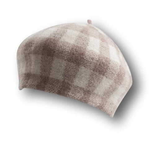 Faded Plaid Beret