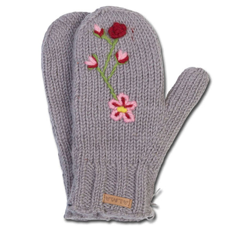 Flower Knit Mittens