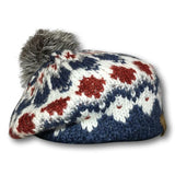 Recycled Pom Pattern Knit Beret
