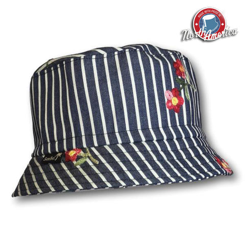 Embroidered Floral Striped Bucket