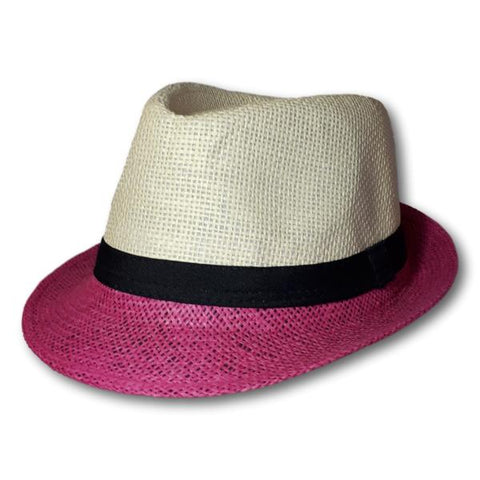 Two Tone Straw Fedora