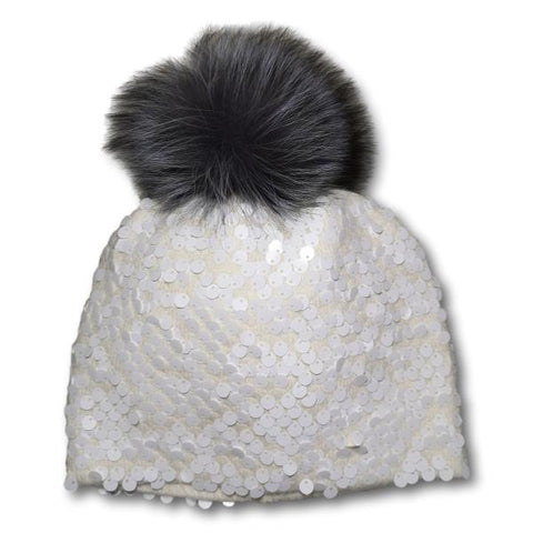 Sequined Fox Pom-Pom Toque