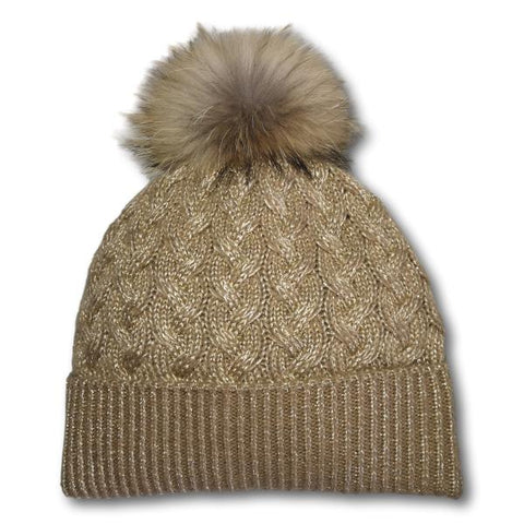 Cable Knit Fur Pom Toque