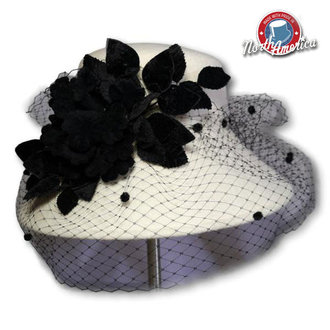 Velvet Flower Bouquet Dress Hat