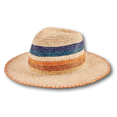 Colour Block Raffia Fedora