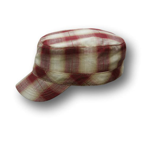 Two Toned Plaid Army Cap