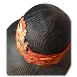 Floral Applique Medium Brim