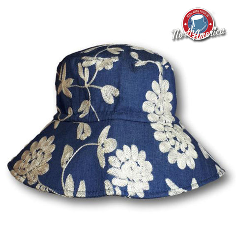 Embroidered Floral Brimmed Hat
