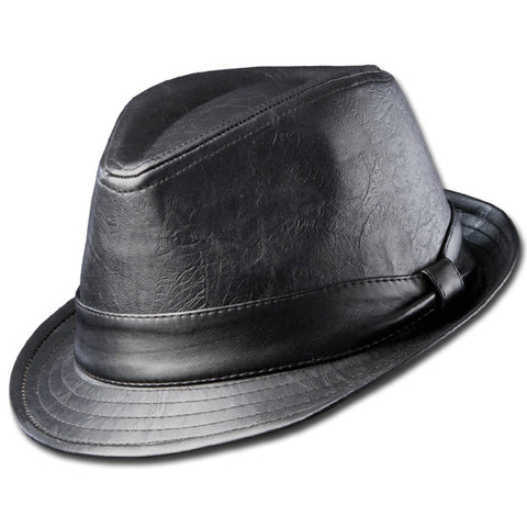 Faux Leather Fedora
