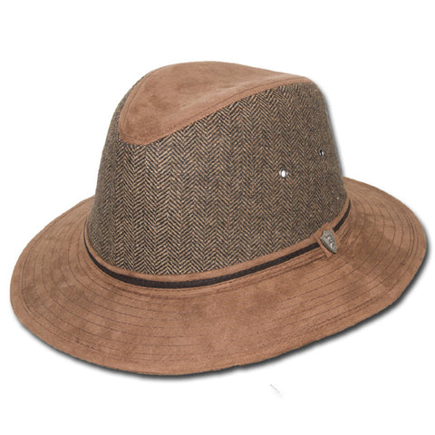 Faux Suede Herringbone Safari