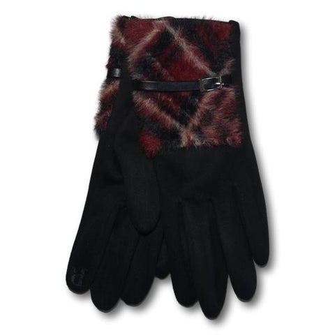 Rubi Plaid Faux Fur Gloves