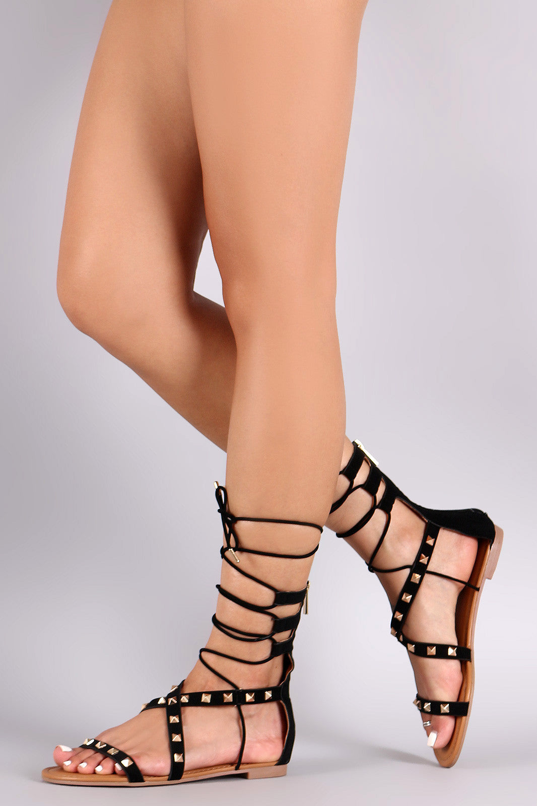 64faed7f76d ... Bamboo Nubuck Prism Studded Lace Up Flat Sandal - Simply BKC - 5 ...