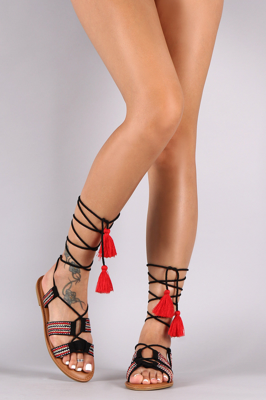 0c85e007f13 ... Bamboo Embroidered Ribbon Lace Up Flat Sandals - Simply BKC - 7 ...