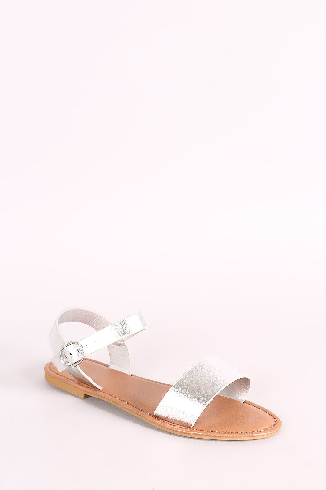 46be65d38ca Bamboo One Band Ankle Strap Flat Sandal