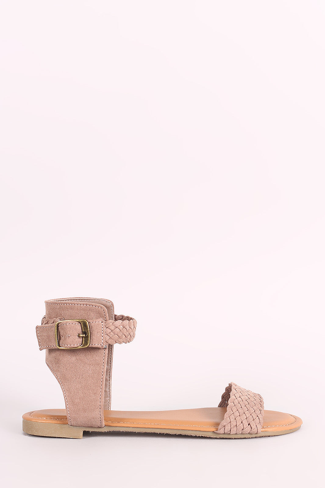 bd0684c8f Bamboo Suede Braided Ankle Strap Flat Sandal