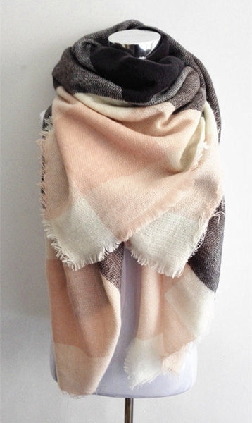 aa4afeefa Light Pink Plaid Blanket Scarf - Simply BKC - 1