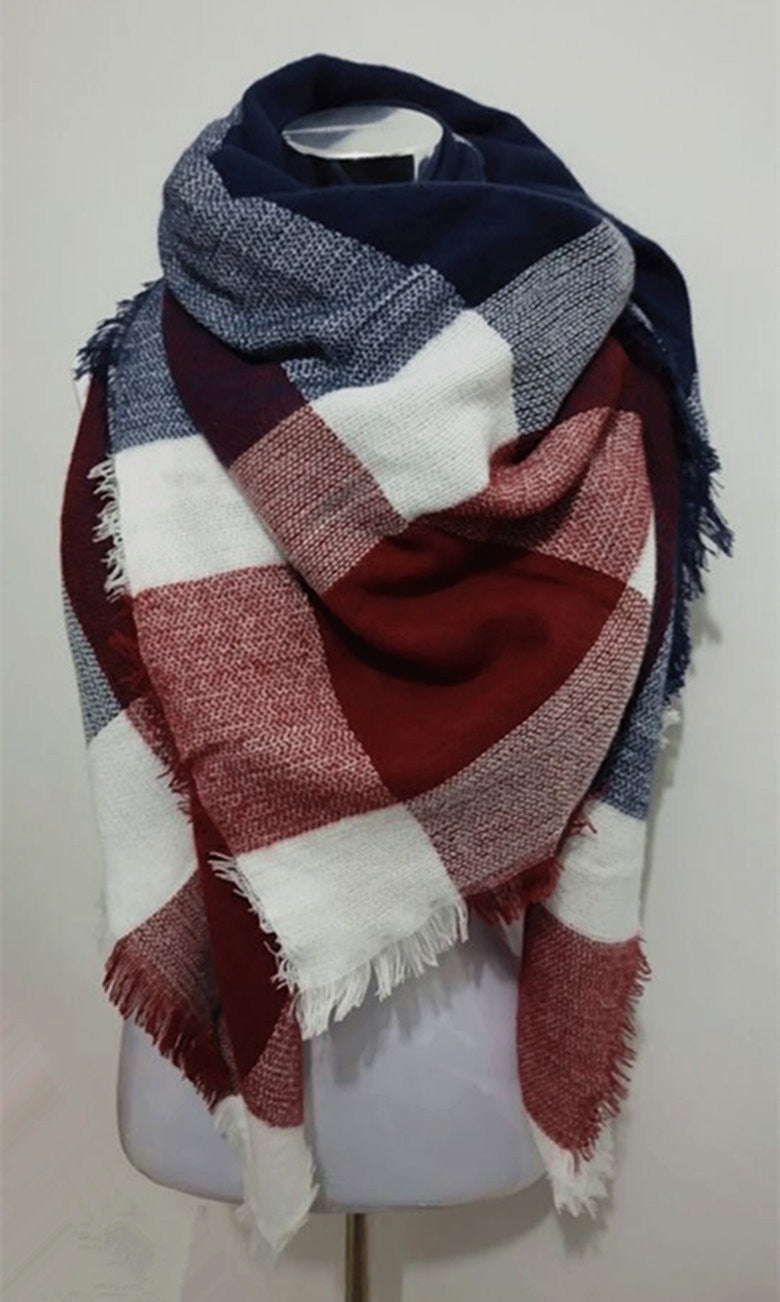 1ce6da8fd Red and Blue Plaid Blanket Scarf - Simply BKC - 1 ...